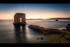 Lonely Tower (jeff_006) Tags: door sunset sea sky seascape france tower beach water rock stone landscape pier sand mediterranean olympus lonely omd 918 em5 mzuiko