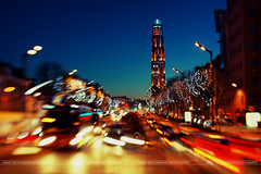 Crazy night ( David.Keochkerian ) Tags: city blue light france color car night lensbaby trail hour amiens