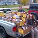 James Aylward and Son Connor Aylward During Stratford Food Drive