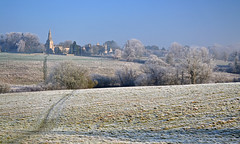 Frosty Church (AndyorDij) Tags: uk trees rutland hoarfrost frost northluffenham mist misty hedgerow fields church field publicfootpath andrewdejardin