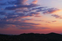 another Ciociaria sunset (SS) Tags: camera pink blue light sunset red summer sky italy orange white black green colors weather yellow clouds composition contrast skyscape landscape photography countryside mood peace dof view purple angle pentax pov walk perspective scenic gimp august cielo framing tones bianco vastness lazio k5 celeste ciociaria atmophere arpino