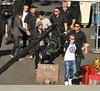 Niall Horan, Louis Tomlinson, Zayn Malik, Liam Payne One Direction seen having lunch and exchange gifts outside the CBS Studios, before the taping of the 'X Factor' finale. Los Angeles, California- 20.12.12 JP