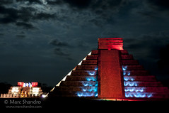 Chichen Itza Light Show (Marc Shandro) Tags: lighting travel night buildings mexico lights ancient pyramid maya yucatan chichenitza mayanruins northamerica moonlight civilization cultures traveldestination nighttimenite