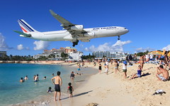 Welcome to Maho Beach (A Sutanto) Tags: blue sea sky france beach water netherlands dutch plane island saintmartin airport air jet stmartin landing airbus caribbean af stmaarten runway maho sxm airliner a340 antilles sintmaar