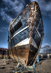 Derelict Prow (Raphooey) Tags: uk sea england southwest west beach canon boats eos boat fishing ship steel south ships north rope quay devon shore gb beached ropes hull seashore derelict barge trawler barnstaple hulls instow prow yelland photomatix 60d