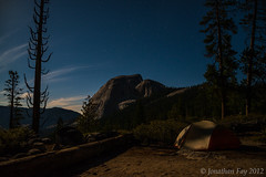 Early Morning Half Dome Summit (Jonny Fay) Tags: california park ca morning trees camp sky moon night clouds forest stars landscape star site nikon hiking trails hike trail cables national yosemite dome half halfdome vista moonlight 36 f4 campsite headlamps d800 megapixels 24120mm 24120 bigagnes 36mp ul3 subdome nikond800 copperspur