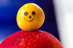 Best wishes for 2013! :-) (Michel Couprie) Tags: stilllife colors fruits smile canon eos peach plum newyear 100mm smiley wishes 7d sourire catchy naturemorte prune mirabelle voeux pche bonneanne 2013