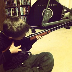 #Malikai got a BB gun. He is learning the basics of gun safety and marksmanship. / on Instagram http://instagr.am/p/T7Bt7Bsmqj/ (JonZenor) Tags: photos tumblr instagram