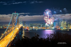 San Francisco Fireworks for New Year's 2013 (Darvin Atkeson) Tags: sanfrancisco eve skyline night island happy bay cityscape treasure suspension fireworks celebration event goldengate midnight baybridge newyears yerbabuena citybythebay darvin 2013 atkeson darv liquidmoonlightcom lynneal