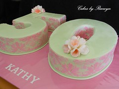 Kathy is 50 (Cakes by Raewyn) Tags: 50th stenciling numerals pinkandgreen frangipanis