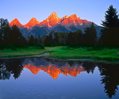 Iconic Peace (David Shield Photography) Tags: usa mountains color reflection water sunrise landscape nationalpark peace wyoming tetons iconic sandyhook grandtetonnationalpark schwabacherslanding davidshield