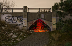 A Little Light Painting Fire Tonight (SimplyAmy74) Tags: nightphotography bridge lightpainting nocturnal glowsticks underthebridge