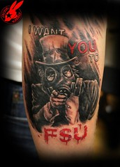 "Military ""F**k S**t Up"" Tattoo by Jackie Rabbit (Jackie rabbit Tattoos) Tags: city usa tattoo america soldier army star virginia us cool colorful pretty good awesome great navy creepy roanoke american va gasmask marines airforce unclesam realistic jackierabbit"