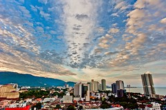 Spectacular Cloud Formation (Thru-My-Lens) Tags: sunset urban skyline clouds skyscraper high skies cityscape outdoor wideangle georgetown flats malaysia penang outing exposureblending supershot 2013 diamondclassphotographer flickrdiamond dragondaggerphoto kedahroad