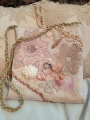 Hand-made, dyed vintage lace, applique hand bag/purse #1