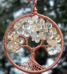 Copper and Citrine Tree Pendant (ethorart) Tags: tree circle spiral necklace wire branches roots knot copper quartz pendant treeoflife connections gemstone wirewrapped ethora