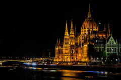 The Hungarian Parliament Building (Edward L. Zhao) Tags: life old city travel bridge blue light people black reflection building brick tower yellow horizontal stone architecture night river dark landscape outdoors photography golden nikon europe hungary cityscape exterior view place no famous gothic budapest parliament scene palace illuminated line east transportation getty danube tranquil connection igloo d800 hungarian revival destinations