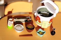 (Sai / Rebecca) Tags: food fish cooking kitchen japan soup miso book miniature fry nikon rice chopsticks daikon rement radish pickle saury ricecooker takuan  d5000