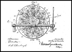 1911  Patent W. G. MACOMBER Axial  Rotary Engine Pat'd Oct 22,1912  1,042,018   Figure 2 of 6 (carlylehold) Tags: no vibration air cooled radiator fly wheel pump fan wiringno wire all82 percent efficiency robert contact haefner history spark pugs fire they pass sparking plate attached magneto carlylehold 1912 macomber axial engine rotary motor aircraft car robertchaefner c bob