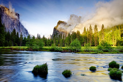 Clearing Storm (baddoguy) Tags: california park travel light sunset usa sun mountain storm reflection tourism nature rock fog pinetree forest river golden evening waterfall moving tour view cathedral peaceful landmark icon images tourist lookout formation national valley yosemite getty destination viewpoint iconic tranquil clearing gettyimages unitedstate natioanlpark alphenglow gettyimagesstock