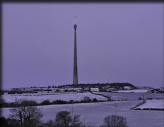 snow fell in the night.... (littlestschnauzer) Tags: morning light white snow tower rural dark concrete countryside tv nikon snowy first ground farmland structure fields farms tall mast february moor snowfall signal height huddersfield transmitter emley 2013 d5000 elementsorganizer11
