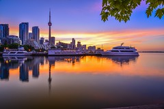 Leafs (kelvinsei) Tags: longexposure cityscape sunrise morning trees sky clouds tower light building boats leafs water lakeshore toronto city canada