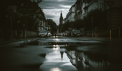 Reut-flection (Tim RT) Tags: tim rt reutlingen rain bad wether outdoor city scape cityscape reflection water street streets wet church art detail grey tones clouds beautiful life new pic lovemycity natural light nikon d810 50mm f18 prime lens
