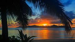 La Dique Sunset (SjPhotoworld) Tags: indianocean indian seychelles seychellen airseychelles ladique ladiquelodge island islander holiday travel sunset beach palms palmtree water sea dreamisland dream canon challenge beautiful sun