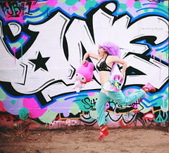 Bubblegum Bunny & Cotton Candy Unicorn (Kelly McCarthy Photography) Tags: woman model beautiful beauty colorful pink blue white catchycolorspink catchycolorsblue pinkhair graffiti abandoned pose stuffedanimal running toy cute adorable unicornonesie unicorn onesie cagebra alternative