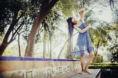 (Nowhere land) Tags: girl chica woman mujer vestidoazul bluedress dancer bailarina onrico dreamy oneiric nature naturaleza bokeh blur desenfoque pose posing bench banco trees rboles