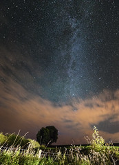 Rural night skies in Scotland (Anna_L.) Tags: night sky milky way galaxy road sign light pollution stars space clouds andromeda