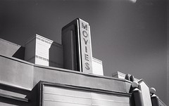 Abandoned Movie Theatre detail (matthew.vortex) Tags: kentucky lexington voigtlander prominenti nokton 5015 yellowfilter kentmere100 ilfosol3 movies cinema vintage rangefinder abandoned sunnyf16 manual epsonv600