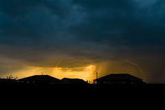Some lightning at sunset (-DonRomano-) Tags: lightning sunset colors orange blue nature sky cloud dusk outdoor