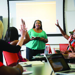 Dr. Tiffany Davis leads an Educational Leadership, Policy and Human Development class.