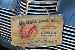 Minnequa Water Bag (Patricia Henschen) Tags: vintage car auto automobile chevrolet 1940s carshow lajunta colorado specialdeluxe 1940 waterbag minnequa pueblotentawningco pueblo chevy usroute50