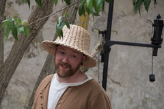 Man at medieval week Gotland (stenaake) Tags: portrait man hat visby gotland sweden medieval week festival symmer happy glad face beard garden