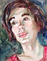 """""""stage lighting"""" - watercolour (Nora MacPhail) Tags: sktchy sktchyapp watercolour watercolor noramacphail portrait portraits face faces expressions floodlights stage lighting sktchyinspired"""