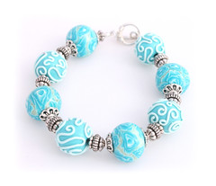 Turquoise Rose Polymer Clay Toggle Bracelet (Lottie Of London) Tags: london jewellery polymerclay lottie handmadebracelets