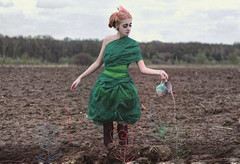 Imagined friends (Elena -Light- Kogut) Tags: plant flower art girl strange field fairytale earth surrealism creative dirt fantasy imagination unusual wateringcan