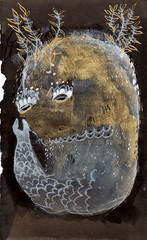 Fish Golden Seaweed (benconservato) Tags: ocean sea fish art illustration ink monoprint paint darkness oil printmaking beast artbrut gouache depth benconservato emmakidd