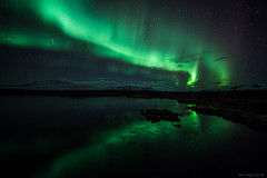 Aurora From Right (Frijfur M.) Tags: nightphotography snow mountains reflection ice water iceland rocks nightshot thingvellir ingvellir northernlights auroraborealis geminid ingvallavatn thingvellirnationalpark canon5dmarkii visipix samyang14mm frijfurm