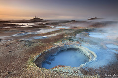 Hot Pot - Gunnuhver Geothermal Area, Iceland (orvaratli) Tags: blue hot landscape photo iceland spring warm arctic geothermal reykjanes silica