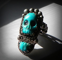 Ring of Mictecacihuatl, day of the dead sterling silver , 14k gold and turquoise skull carved from Nacozari turquoise turquoise and two Pink sapphires. (leespicedragon) Tags: pink art silver stars dayofthedead skeleton skull gold carved aztec turquoise ooak jewelry ring nativeamerican handcrafted 14k sterling sapphires nacozari mictecacihuatl marvinleebillings