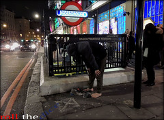 `778 (roll the dice) Tags: urban man london feet underground lights shoes traffic candid cab taxi homeless tube streetphotography stranger knightsbridge unknown sick unaware brompton roundel londonist whitecross kensingtonchelsea