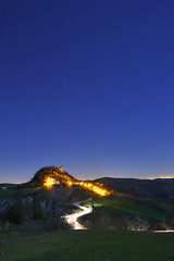 Canossa #2 (Christian Melegari) Tags: road longexposure sky castle landscape nightshoot hills ruined d800 canossa ruinedcastle nikonaf20mm28d