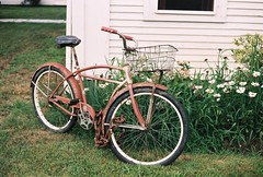 Old Bike at the House (banditlead) Tags: analog 35mm capecod canonrebel2000 niftyfifty