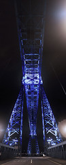 Transporter Bridge (systolic_thrill) Tags: road bridge sky lines tarmac yellow night canon river lens eos image steel engineering landmark double structure stop photomerge barrier kit 1855mm middlesbrough stockton efs merge transporter tees teeside cleavland f3556