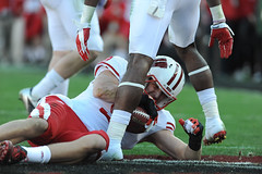 Wisconsin wide receiver Jordan Fredrick (9) comes up with the Badgers second touchdown toward the end of the first half of the 2013 Rose Bowl football game between the University of Wisconsin-Madison Badgers and the Stanford University Cardinal at the Ros