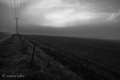 My Home Town 4 (rmc sutton) Tags: road morning blackandwhite bw fog clouds solitude earlymorning headlights ramona telephonepoles