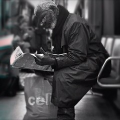 The reader. (clok_moitie) Tags: people blackandwhite bw monochrome subway candid squareformat candids bnw streetphotographer streetphotographers mobilephotography iphonephotography iphonography iphoneshots iphonephotographer iphoneography iphoneographer clokmoitie uploaded:by=flickstagram instagram:photo=5186339552888117